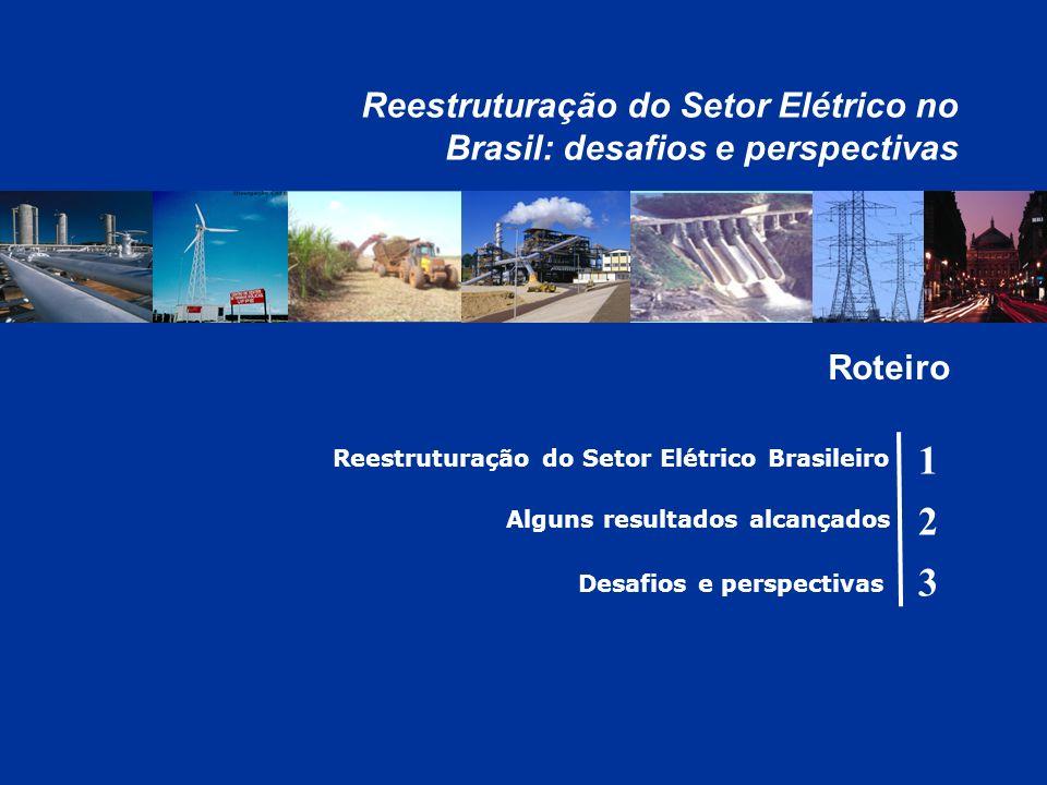 Reestruturação do Setor Elétrico Brasileiro Alguns resultados alcançados 1 2 3 Roteiro Reestruturação do Setor Elétrico no Brasil: desafios e perspectivas Desafios e perspectivas