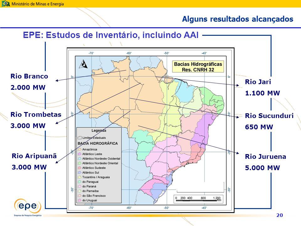 20 Rio Branco 2.000 MW Rio Jari 1.100 MW Rio Aripuanã 3.000 MW Rio Trombetas 3.000 MW Rio Juruena 5.000 MW Rio Sucunduri 650 MW EPE: Estudos de Inventário, incluindo AAI Alguns resultados alcançados