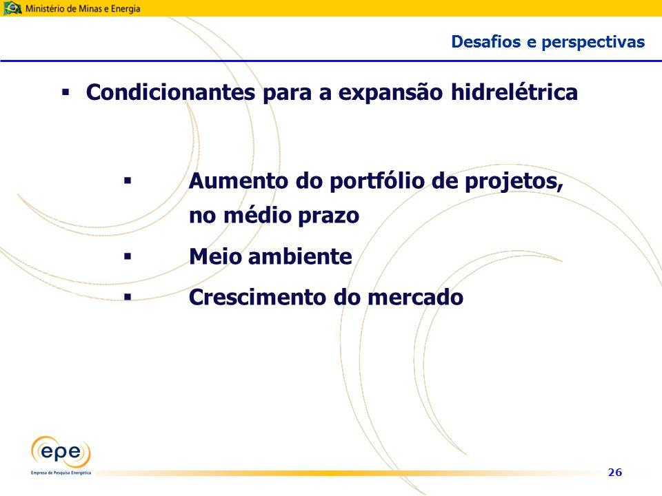 26 Aumento do portfólio de projetos, no médio prazo Meio ambiente Crescimento do mercado Condicionantes para a expansão hidrelétrica Desafios e perspectivas