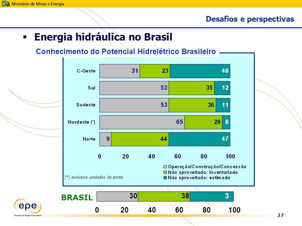 27 (*) exclusive unidades de ponta Conhecimento do Potencial Hidrelétrico Brasileiro 30383232 020406080100 BRASIL Energia hidráulica no Brasil Desafios e perspectivas