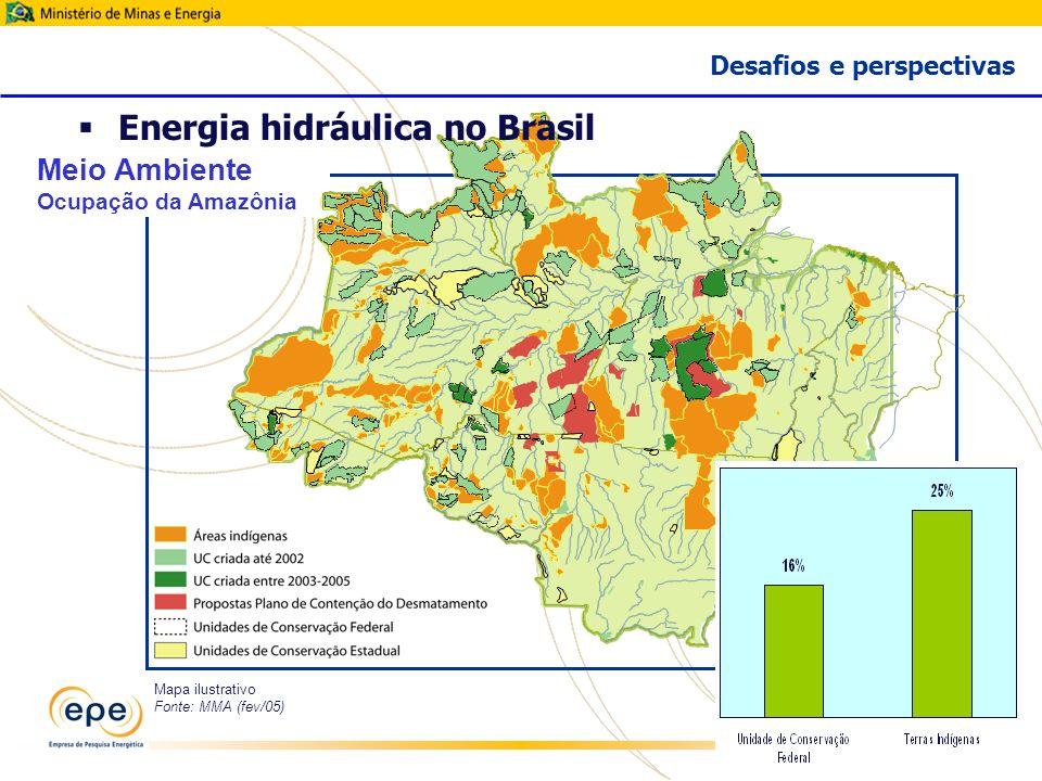 29 Mapa ilustrativo Fonte: MMA (fev/05) Meio Ambiente Ocupação da Amazônia Desafios e perspectivas Energia hidráulica no Brasil