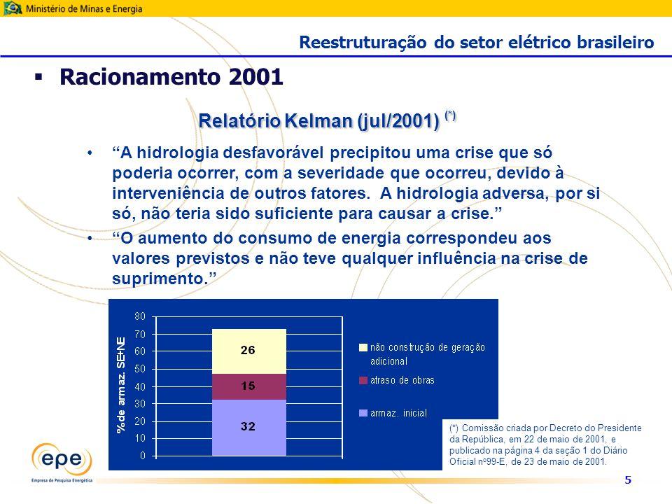 5 Racionamento 2001 Reestruturação do setor elétrico brasileiro A hidrologia desfavorável precipitou uma crise que só poderia ocorrer, com a severidade que ocorreu, devido à interveniência de outros fatores.