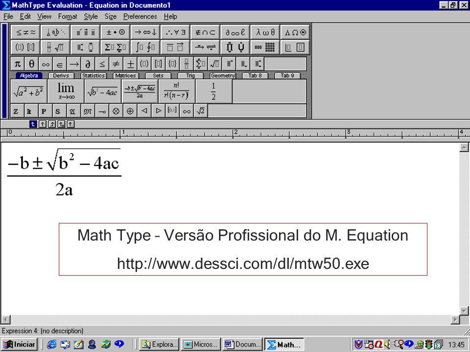 Math Type – Versão Profissional do M. Equation http://www.dessci.com/dl/mtw50.exe