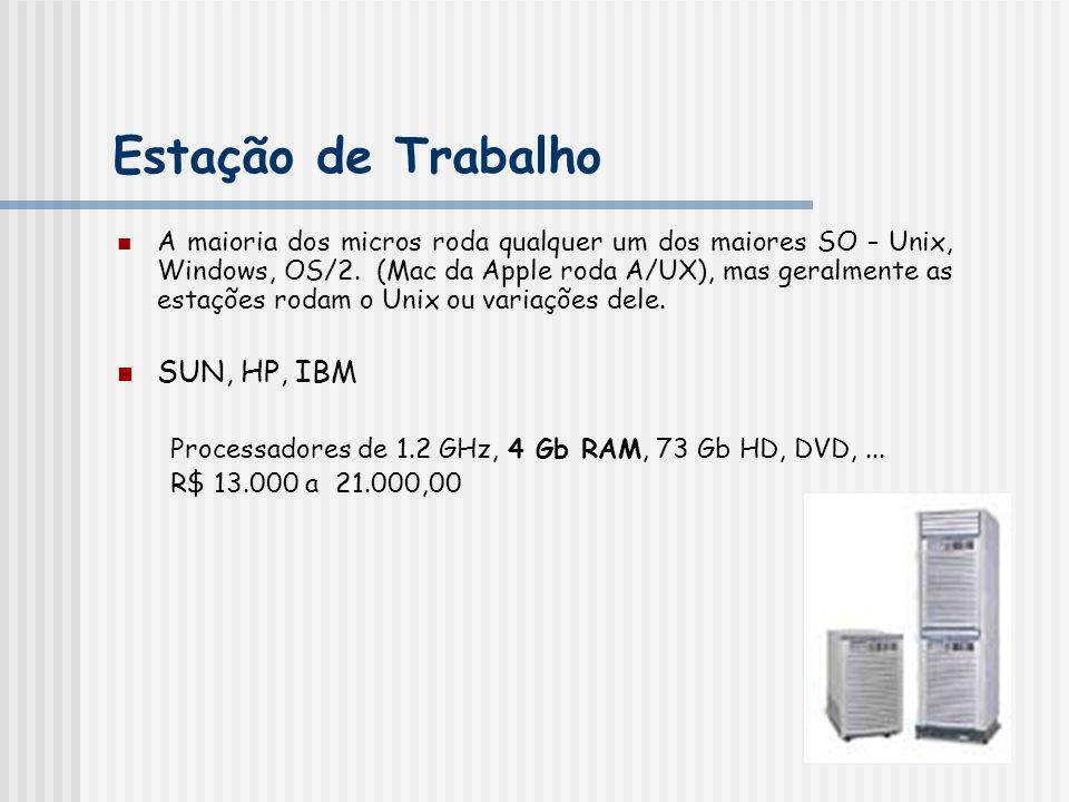Estação de Trabalho A maioria dos micros roda qualquer um dos maiores SO – Unix, Windows, OS/2. (Mac da Apple roda A/UX), mas geralmente as estações r