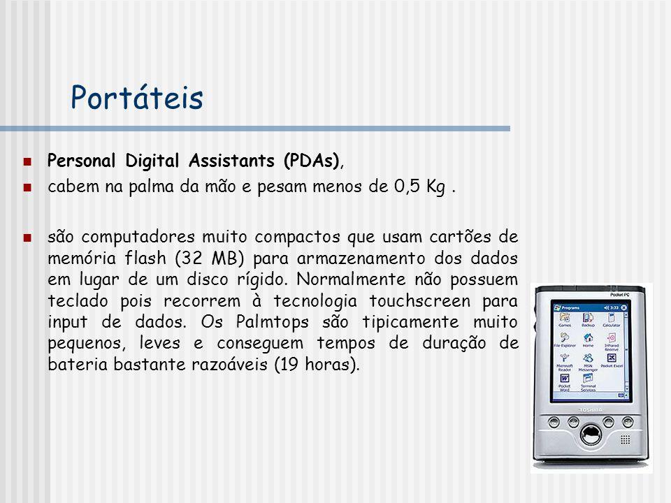Portáteis Personal Digital Assistants (PDAs), cabem na palma da mão e pesam menos de 0,5 Kg. são computadores muito compactos que usam cartões de memó