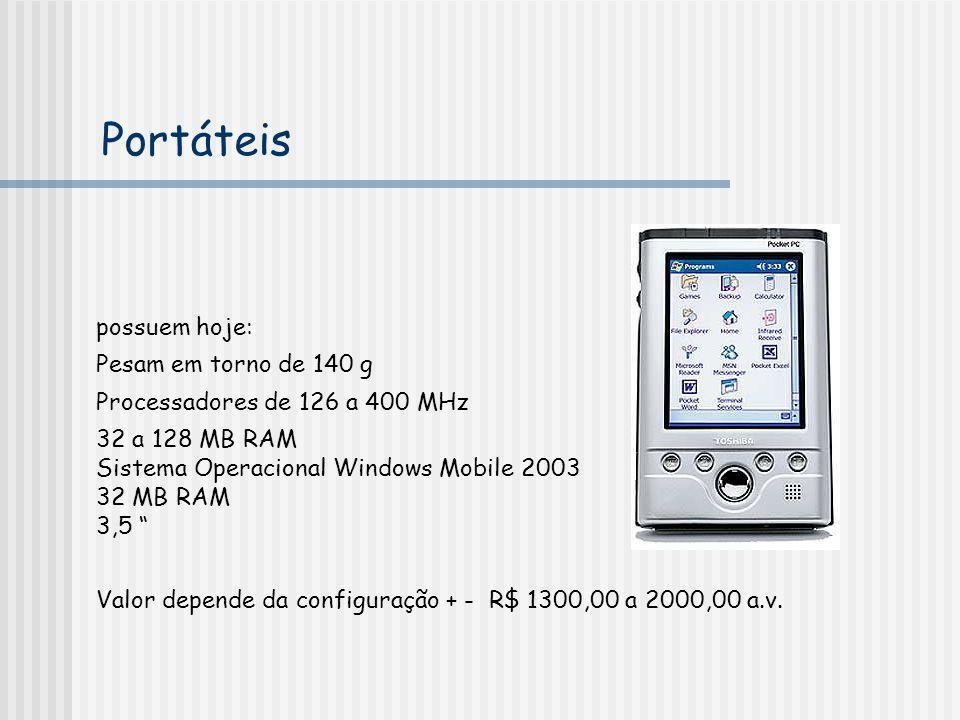 Portáteis possuem hoje: Pesam em torno de 140 g Processadores de 126 a 400 MHz 32 a 128 MB RAM Sistema Operacional Windows Mobile 2003 32 MB RAM 3,5 V