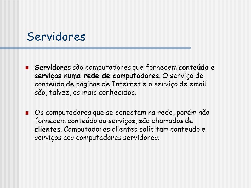 Servidores Servidores são computadores que fornecem conteúdo e serviços numa rede de computadores. O serviço de conteúdo de páginas de Internet e o se