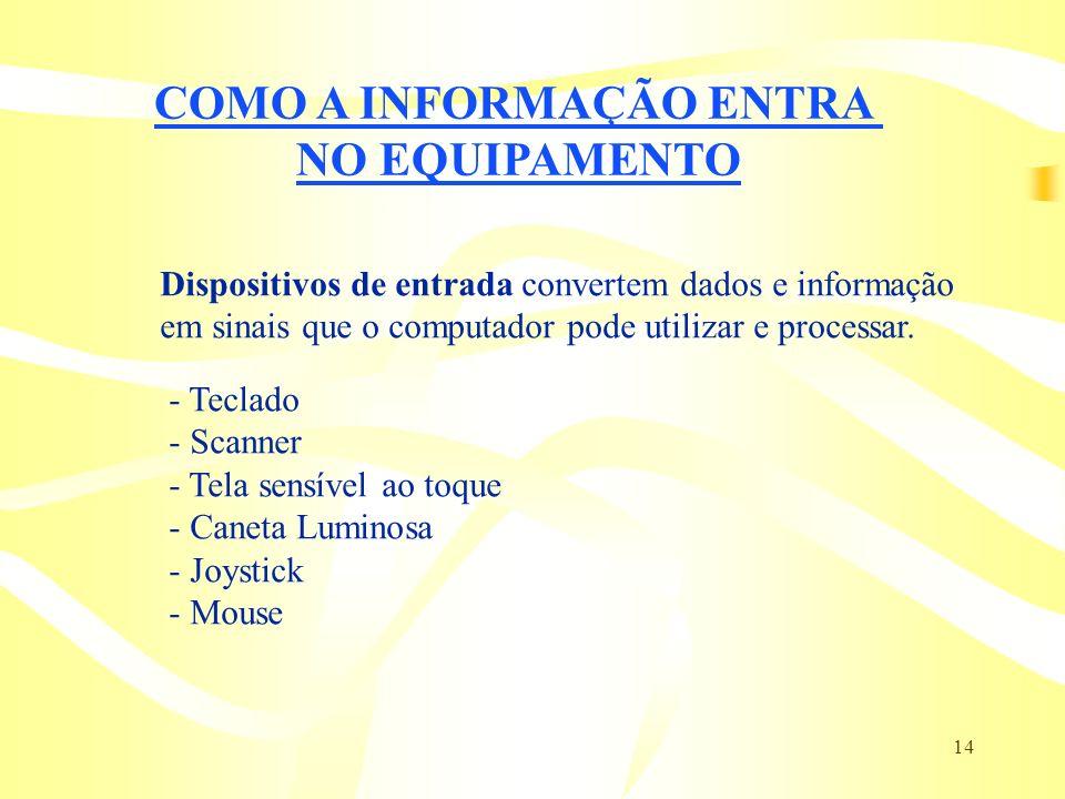 14 COMO A INFORMAÇÃO ENTRA NO EQUIPAMENTO Dispositivos de entrada convertem dados e informação em sinais que o computador pode utilizar e processar. -