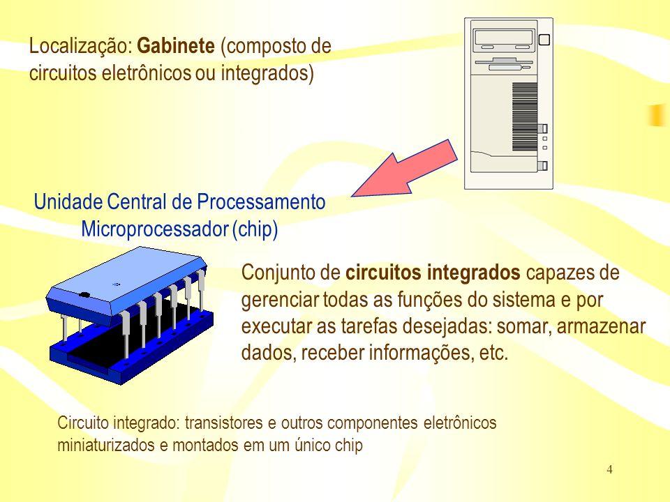 4 Unidade Central de Processamento Microprocessador (chip) Conjunto de circuitos integrados capazes de gerenciar todas as funções do sistema e por exe