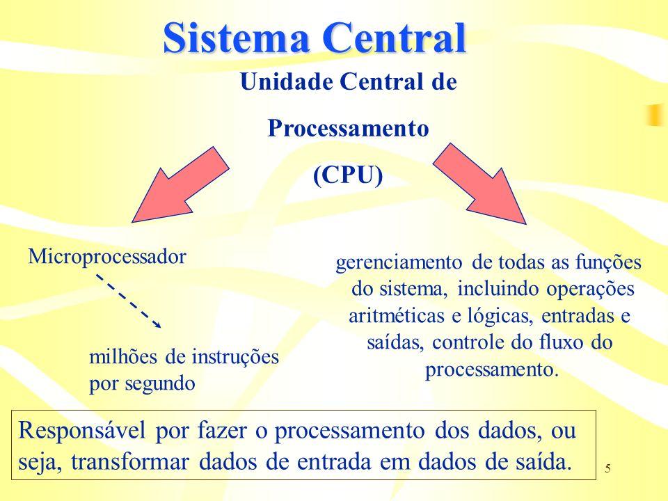 5 Sistema Central Unidade Central de Processamento (CPU) Microprocessador gerenciamento de todas as funções do sistema, incluindo operações aritmética
