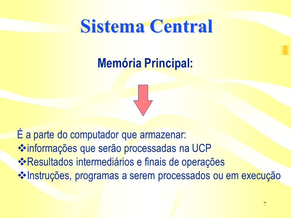 7 Memória Principal: É a parte do computador que armazenar: informações que serão processadas na UCP Resultados intermediários e finais de operações I