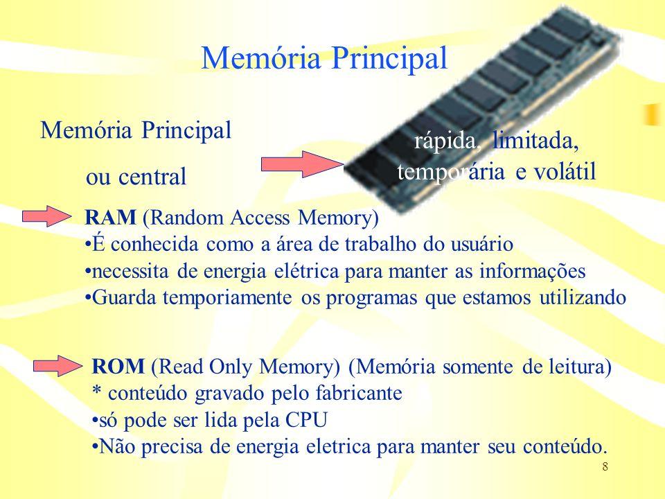 8 Memória Principal RAM (Random Access Memory) É conhecida como a área de trabalho do usuário necessita de energia elétrica para manter as informações