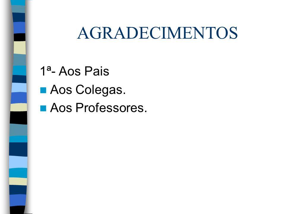 AGRADECIMENTOS 1ª- Aos Pais Aos Colegas. Aos Professores.