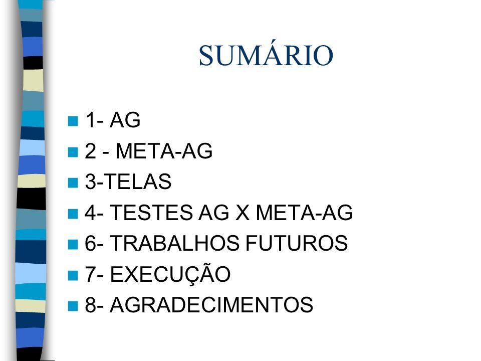 SUMÁRIO 1- AG 2 - META-AG 3-TELAS 4- TESTES AG X META-AG 6- TRABALHOS FUTUROS 7- EXECUÇÃO 8- AGRADECIMENTOS