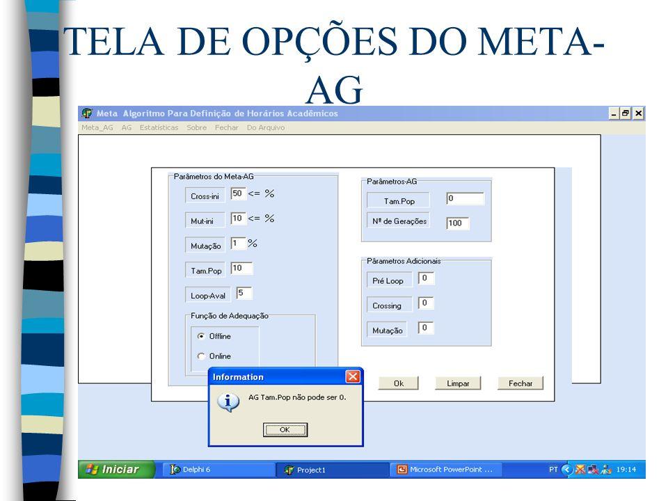 TELA DE OPÇÕES DO META- AG