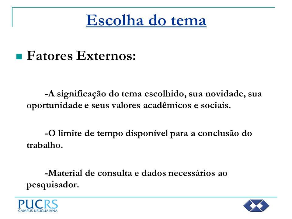 Escolha do tema Fatores Externos: -A significação do tema escolhido, sua novidade, sua oportunidade e seus valores acadêmicos e sociais. -O limite de