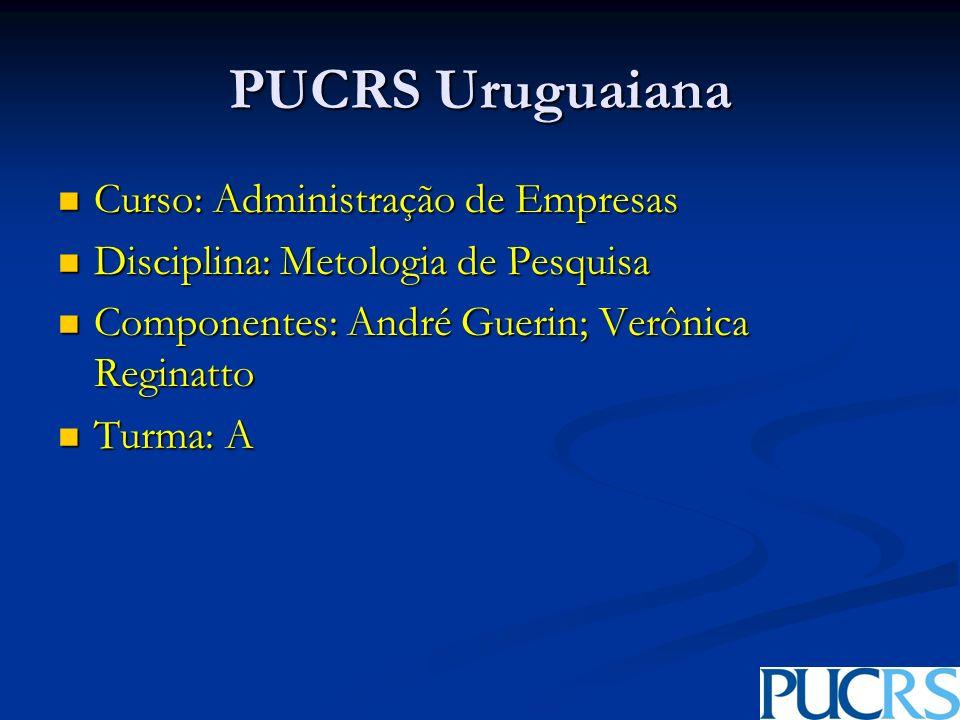 PUCRS Uruguaiana Curso: Administração de Empresas Curso: Administração de Empresas Disciplina: Metologia de Pesquisa Disciplina: Metologia de Pesquisa