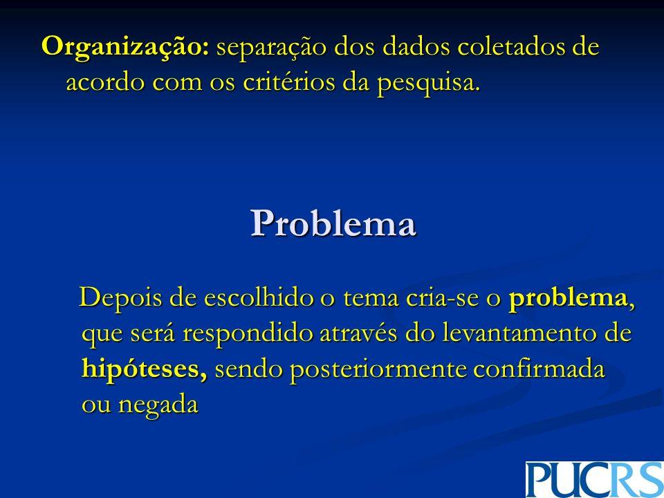 Problema Organização: separação dos dados coletados de acordo com os critérios da pesquisa.