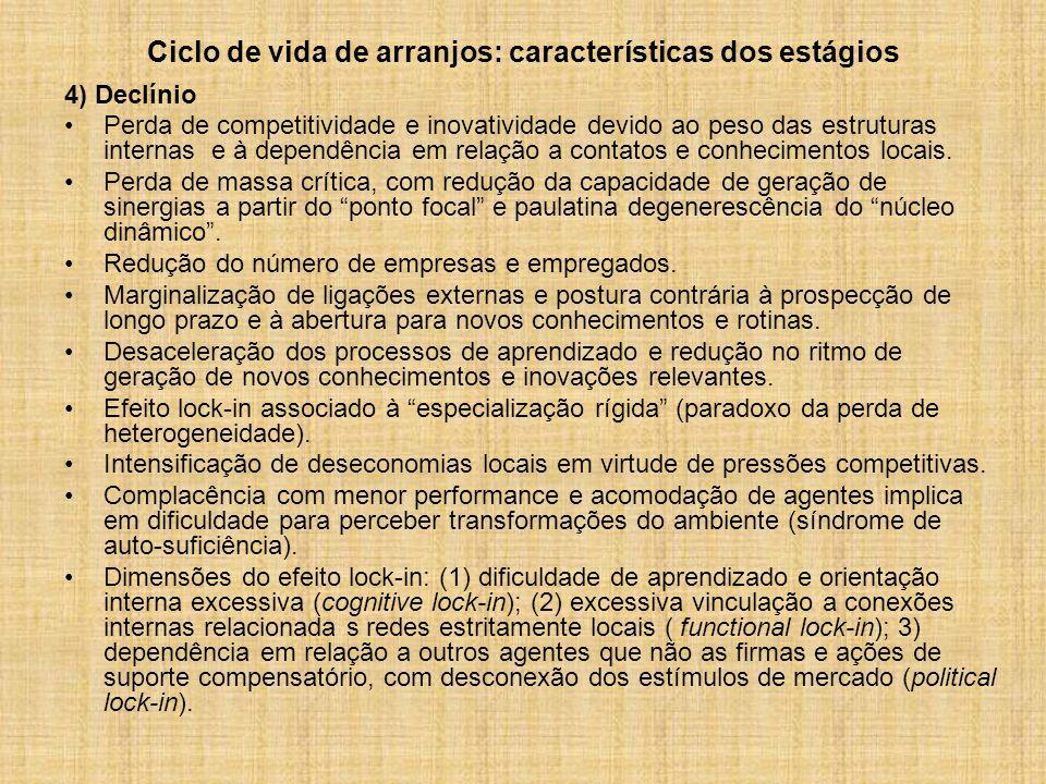 Ciclo de vida de arranjos: características dos estágios 4) Declínio Perda de competitividade e inovatividade devido ao peso das estruturas internas e à dependência em relação a contatos e conhecimentos locais.