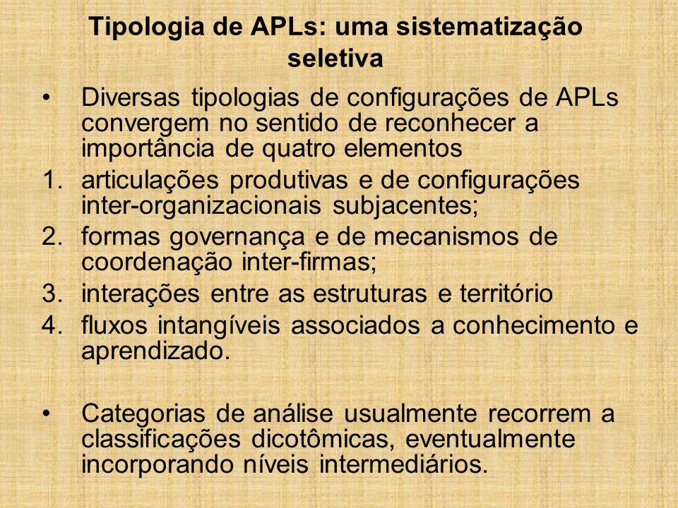 Elementos de caracterização de APLs: uma perspectiva dicotômica
