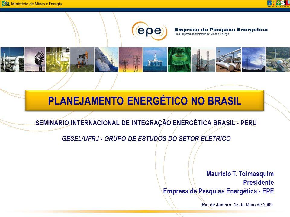 Rio de Janeiro, 15 de Maio de 2009 Mauricio T. Tolmasquim Presidente Empresa de Pesquisa Energética - EPE PLANEJAMENTO ENERGÉTICO NO BRASIL SEMINÁRIO