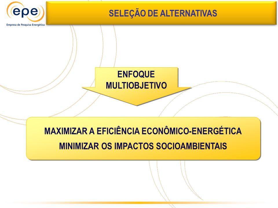 MAXIMIZAR A EFICIÊNCIA ECONÔMICO-ENERGÉTICA MINIMIZAR OS IMPACTOS SOCIOAMBIENTAIS MAXIMIZAR A EFICIÊNCIA ECONÔMICO-ENERGÉTICA MINIMIZAR OS IMPACTOS SO