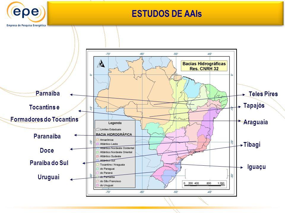 Tocantins e Formadores do Tocantins Parnaíba Paranaíba Paraíba do Sul Doce Tapajós Araguaia Uruguai Iguaçu Tibagi Teles Pires ESTUDOS DE AAIs