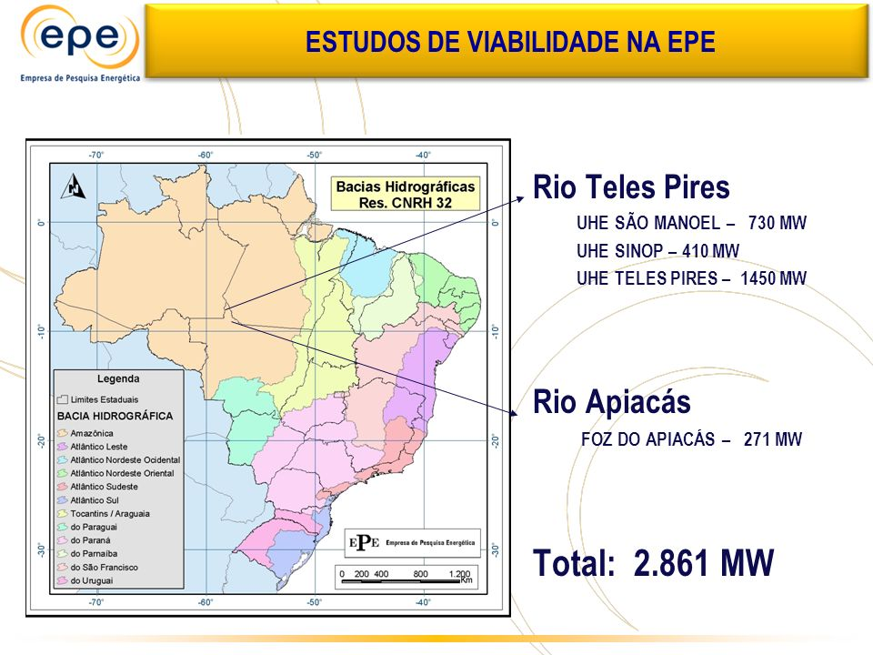 Rio Teles Pires UHE SÃO MANOEL – 730 MW UHE SINOP – 410 MW UHE TELES PIRES – 1450 MW Rio Apiacás FOZ DO APIACÁS – 271 MW Total: 2.861 MW ATUALIZADO MI