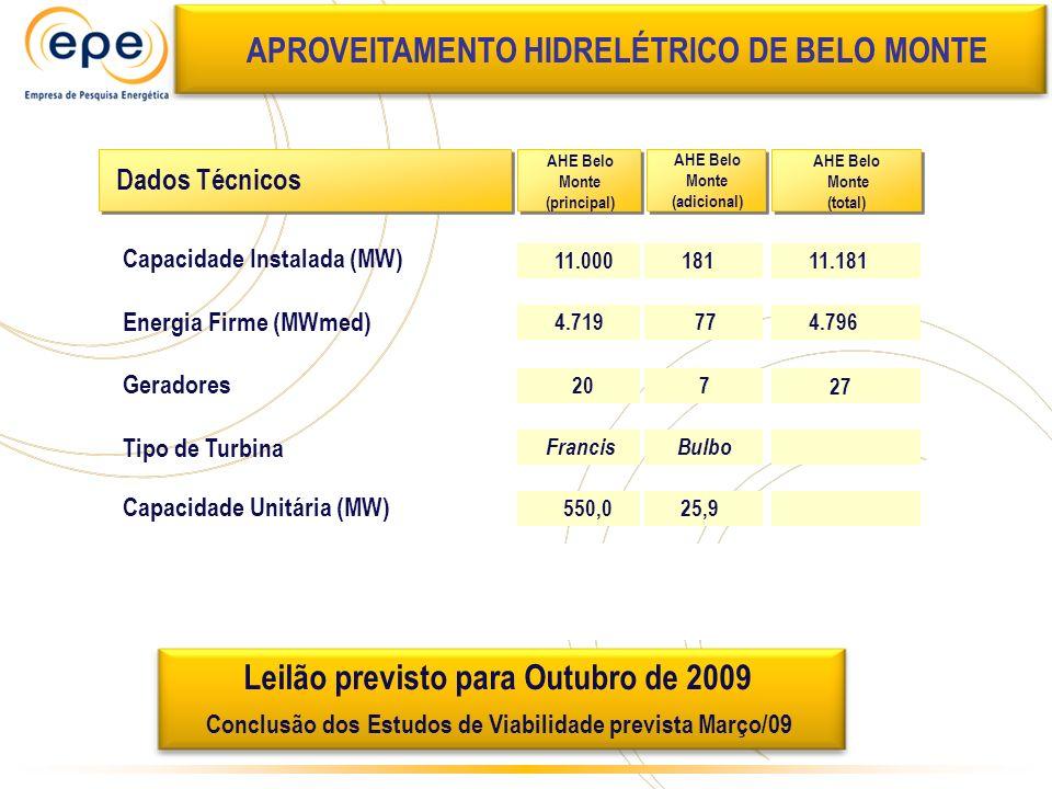 11.000 4.719 Francis Investimento (US$ bilhões) 550,0 20 Dados Técnicos AHE Belo Monte (principal) Capacidade Instalada (MW) Geradores Tipo de Turbina