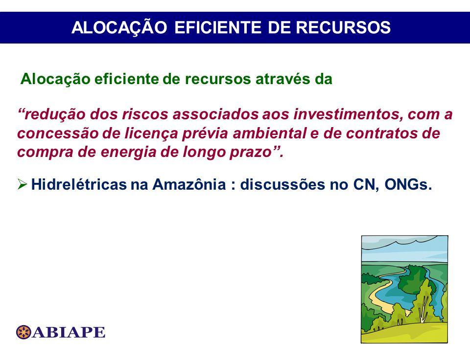 redução dos riscos associados aos investimentos, com a concessão de licença prévia ambiental e de contratos de compra de energia de longo prazo. ALOCA