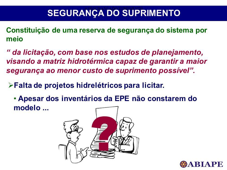 A SEGURANÇA DO SUPRIMENTO SEGURANÇA DO SUPRIMENTO Constituição de uma reserva de segurança do sistema por meio da licitação, com base nos estudos de p