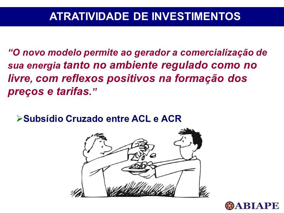 Subsídio Cruzado entre ACL e ACR O novo modelo permite ao gerador a comercialização de sua energia tanto no ambiente regulado como no livre, com refle
