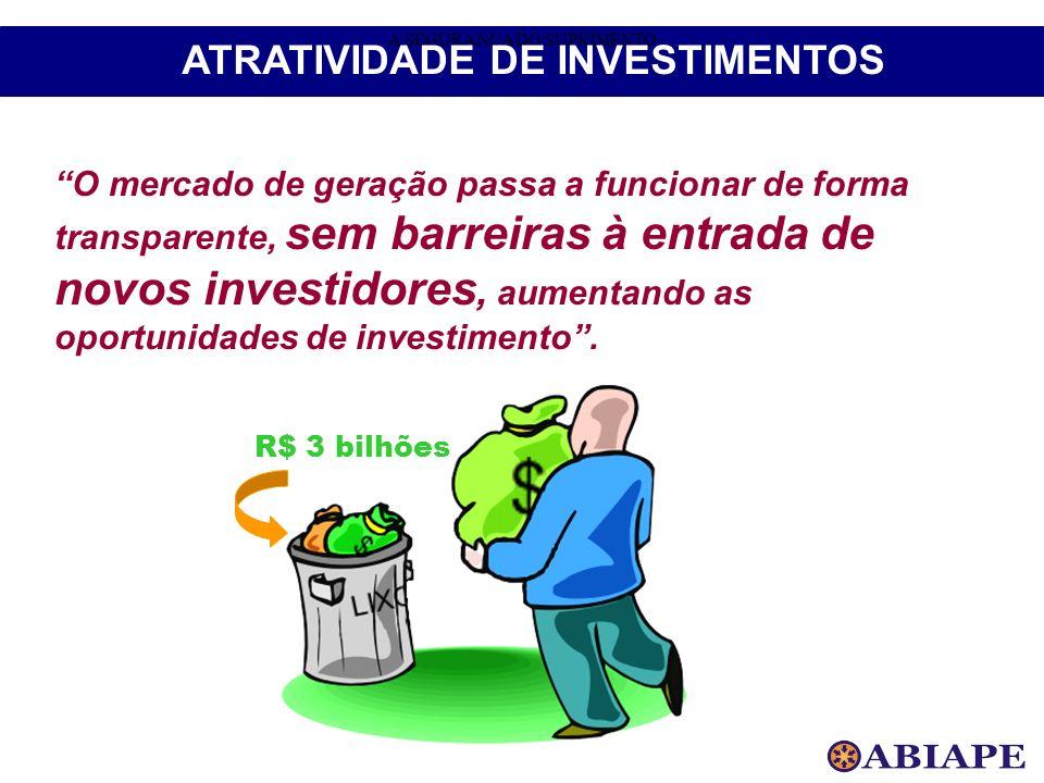 O mercado de geração passa a funcionar de forma transparente, sem barreiras à entrada de novos investidores, aumentando as oportunidades de investimen