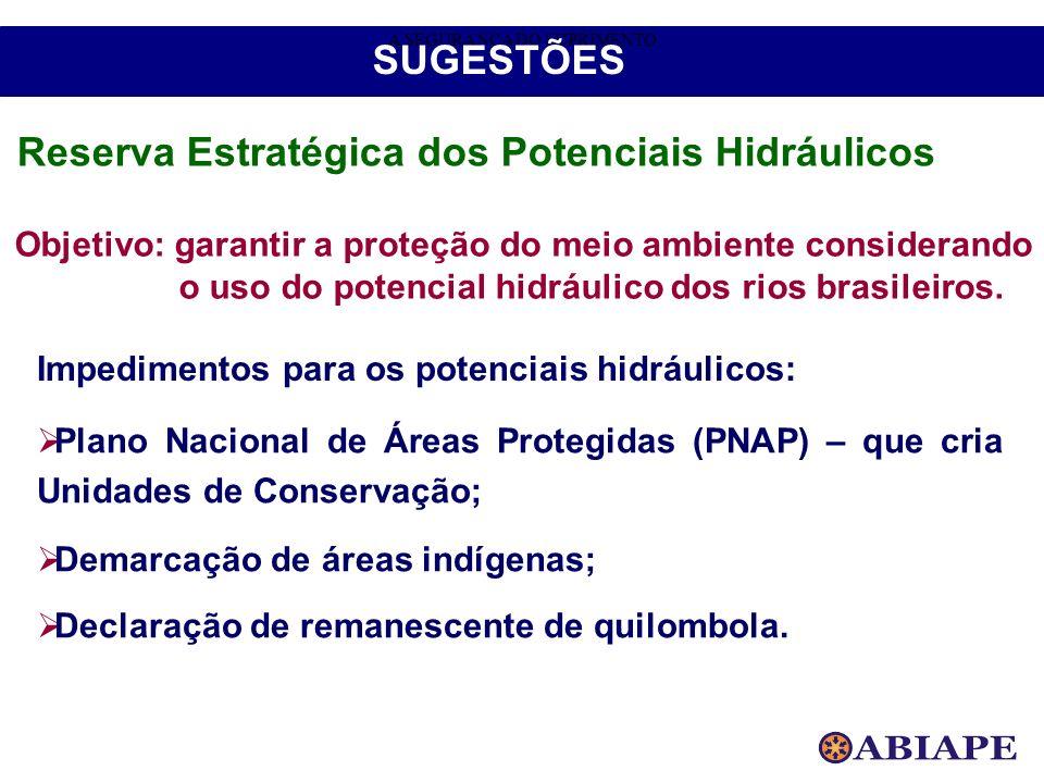 Objetivo: garantir a proteção do meio ambiente considerando o uso do potencial hidráulico dos rios brasileiros. Impedimentos para os potenciais hidráu