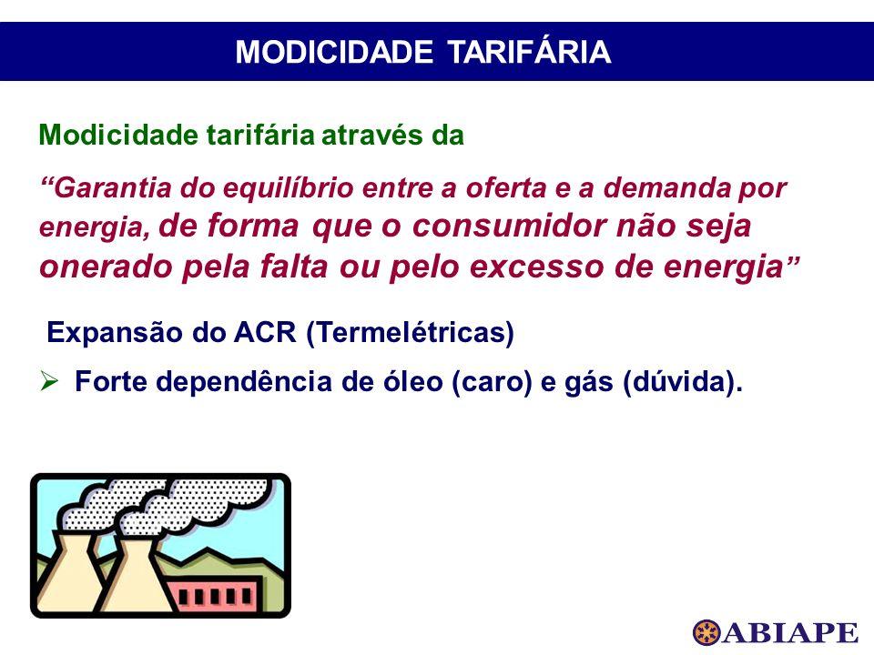 Modicidade tarifária através da Garantia do equilíbrio entre a oferta e a demanda por energia, de forma que o consumidor não seja onerado pela falta o