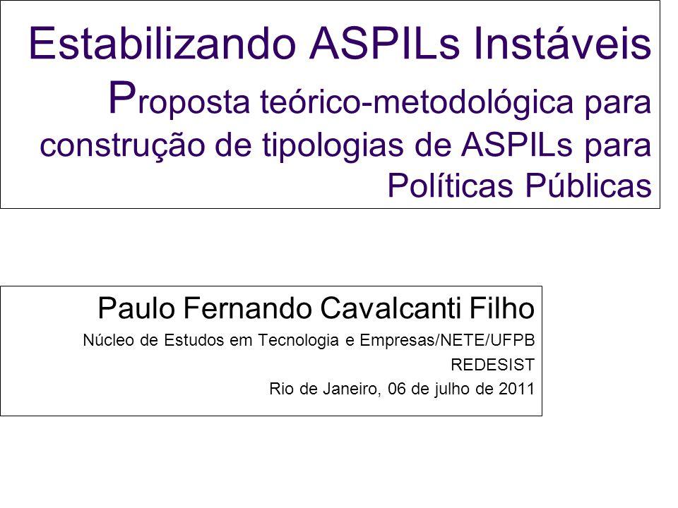 Estabilizando ASPILs Instáveis P roposta teórico-metodológica para construção de tipologias de ASPILs para Políticas Públicas Paulo Fernando Cavalcant