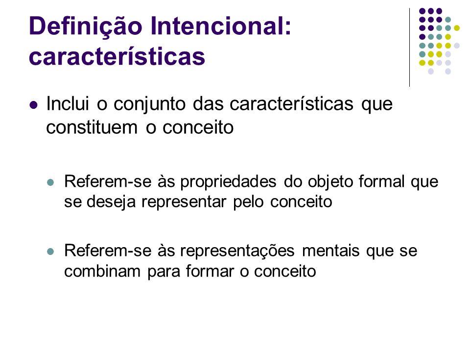 Definição Intencional: características Inclui o conjunto das características que constituem o conceito Referem-se às propriedades do objeto formal que