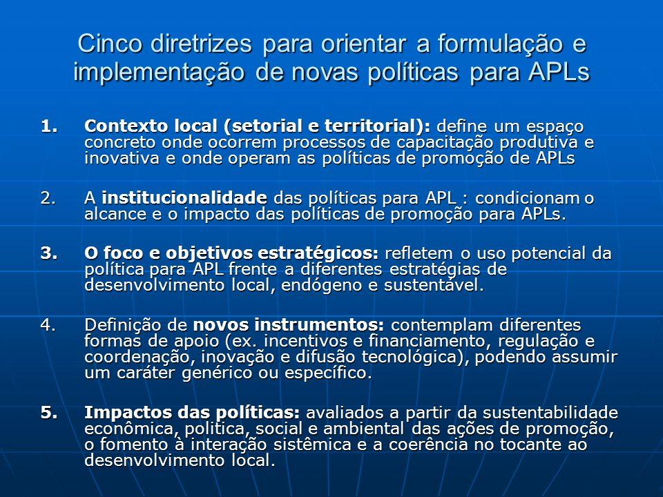 Cinco diretrizes para orientar a formulação e implementação de novas políticas para APLs 1.Contexto local (setorial e territorial): define um espaço concreto onde ocorrem processos de capacitação produtiva e inovativa e onde operam as políticas de promoção de APLs 2.A institucionalidade das políticas para APL : condicionam o alcance e o impacto das políticas de promoção para APLs.