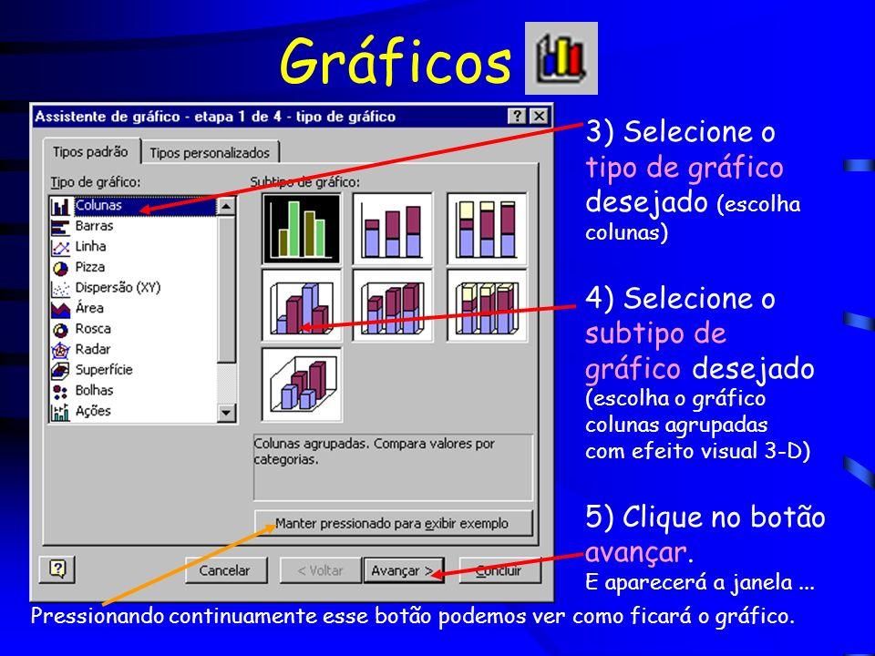 Gráficos 3) Selecione o tipo de gráfico desejado (escolha colunas) 4) Selecione o subtipo de gráfico desejado (escolha o gráfico colunas agrupadas com