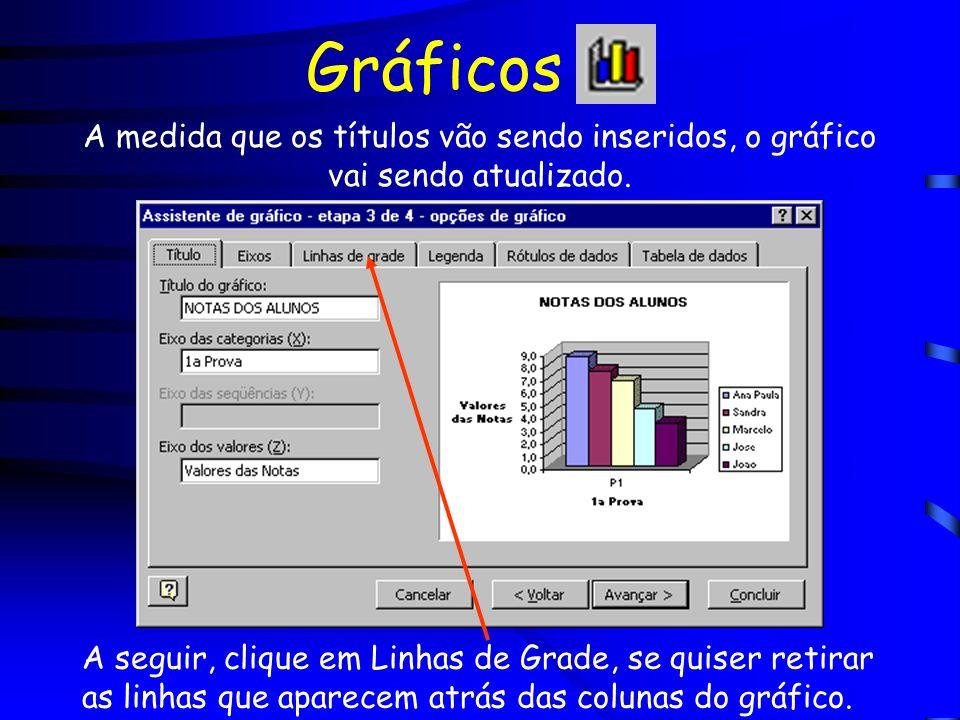 Gráficos Para retirar as linhas de grade, clique em Linhas de Grade Principais retirando a seleção.