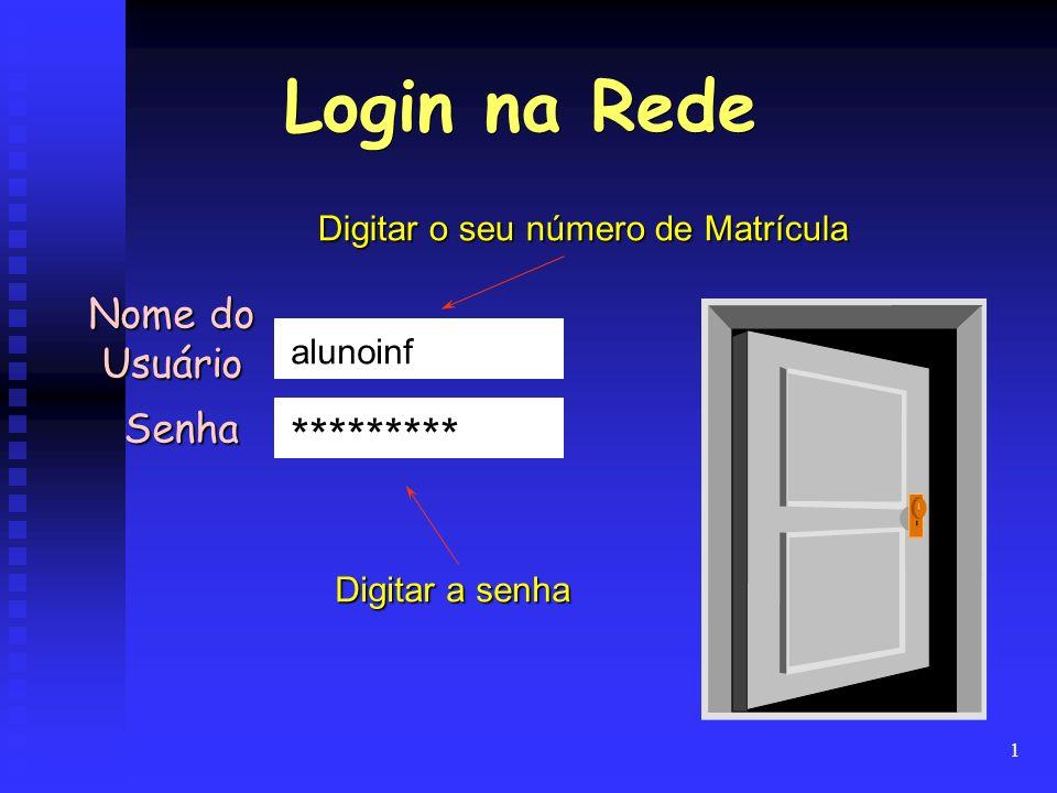 1 Nome do Usuário Senha alunoinf ********* Digitar o seu número de Matrícula Digitar a senha Login na Rede
