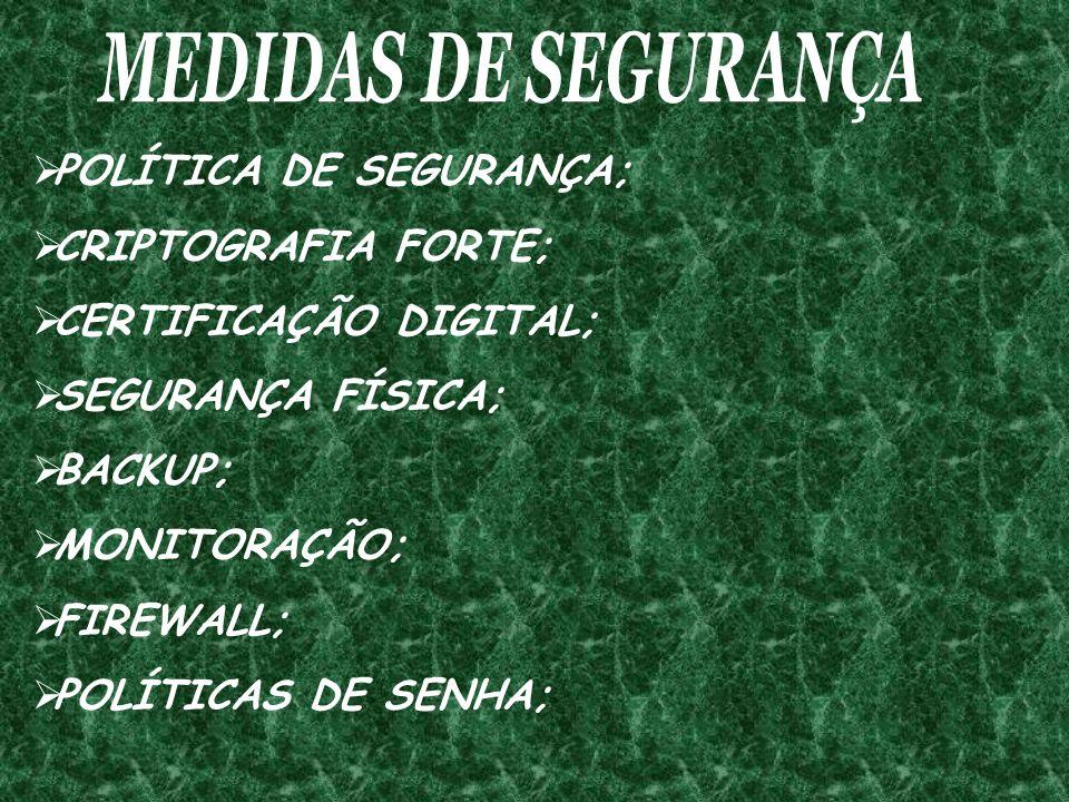 POLÍTICA DE SEGURANÇA; CRIPTOGRAFIA FORTE; CERTIFICAÇÃO DIGITAL; SEGURANÇA FÍSICA; BACKUP; MONITORAÇÃO; FIREWALL; POLÍTICAS DE SENHA;