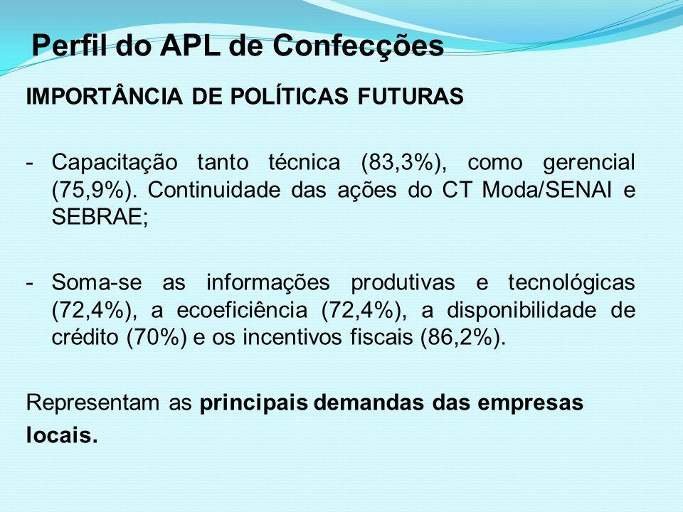 Perfil do APL de Confecções IMPORTÂNCIA DE POLÍTICAS FUTURAS -Capacitação tanto técnica (83,3%), como gerencial (75,9%). Continuidade das ações do CT