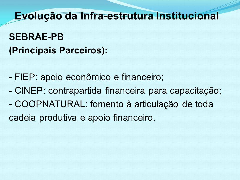 Evolução da Infra-estrutura Institucional SEBRAE-PB (Principais Parceiros): - FIEP: apoio econômico e financeiro; - CINEP: contrapartida financeira pa