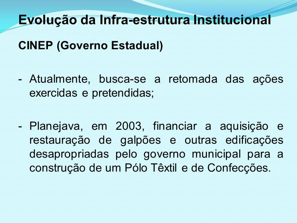 Evolução da Infra-estrutura Institucional CINEP (Governo Estadual) -Atualmente, busca-se a retomada das ações exercidas e pretendidas; -Planejava, em