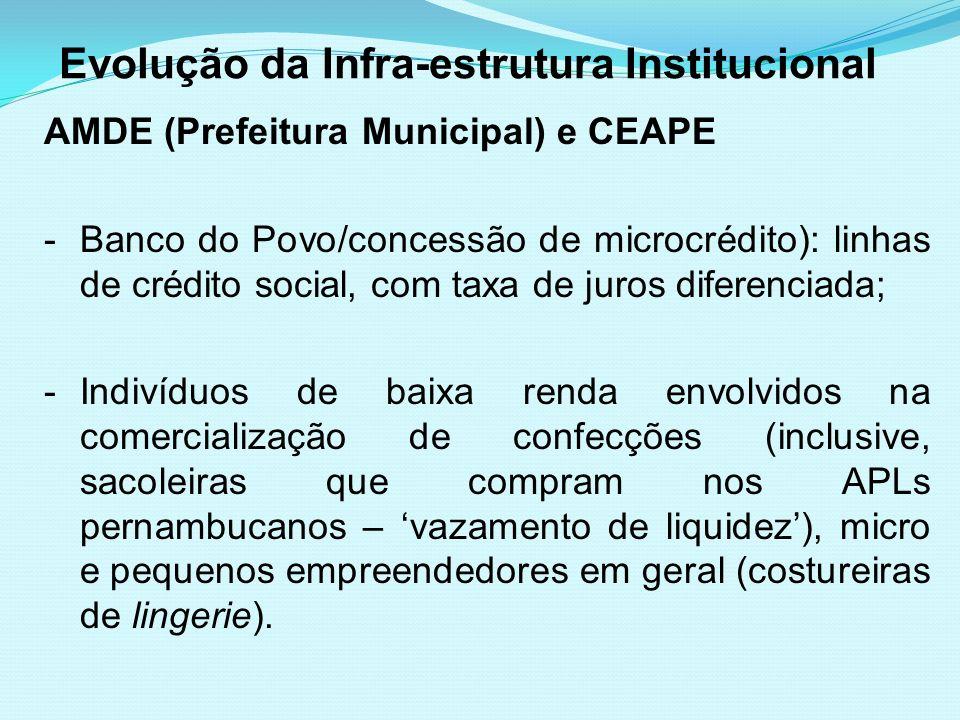 Evolução da Infra-estrutura Institucional AMDE (Prefeitura Municipal) e CEAPE -Banco do Povo/concessão de microcrédito): linhas de crédito social, com
