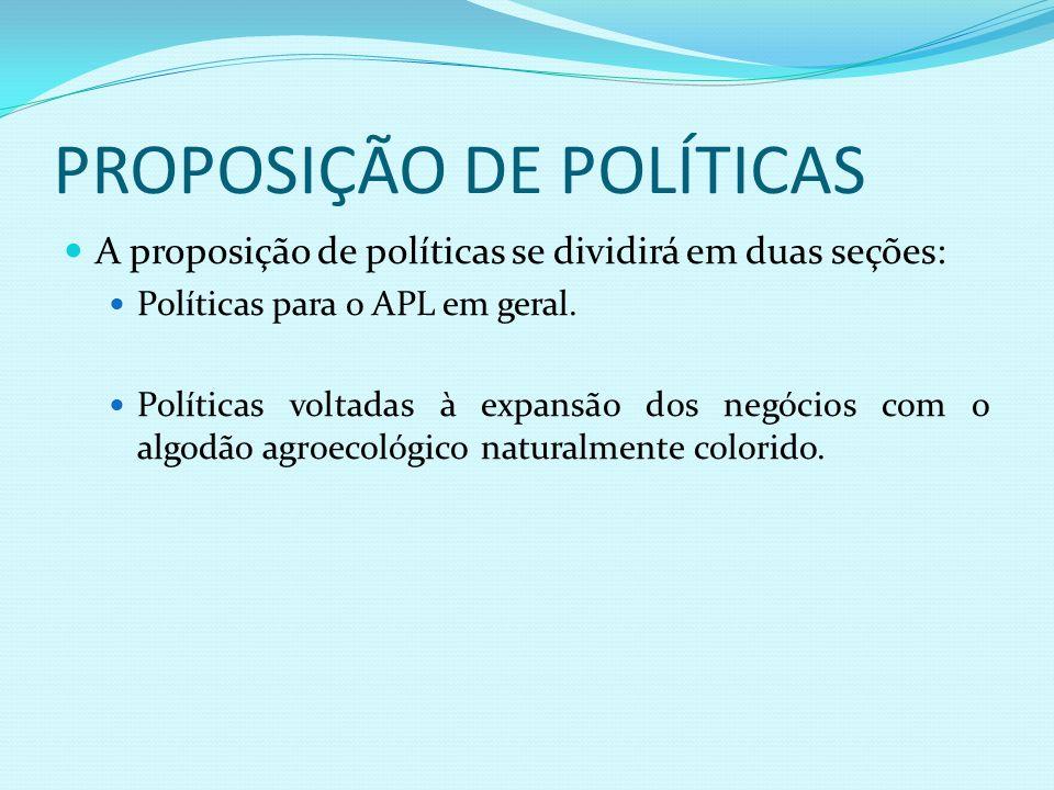 PROPOSIÇÃO DE POLÍTICAS A proposição de políticas se dividirá em duas seções: Políticas para o APL em geral. Políticas voltadas à expansão dos negócio