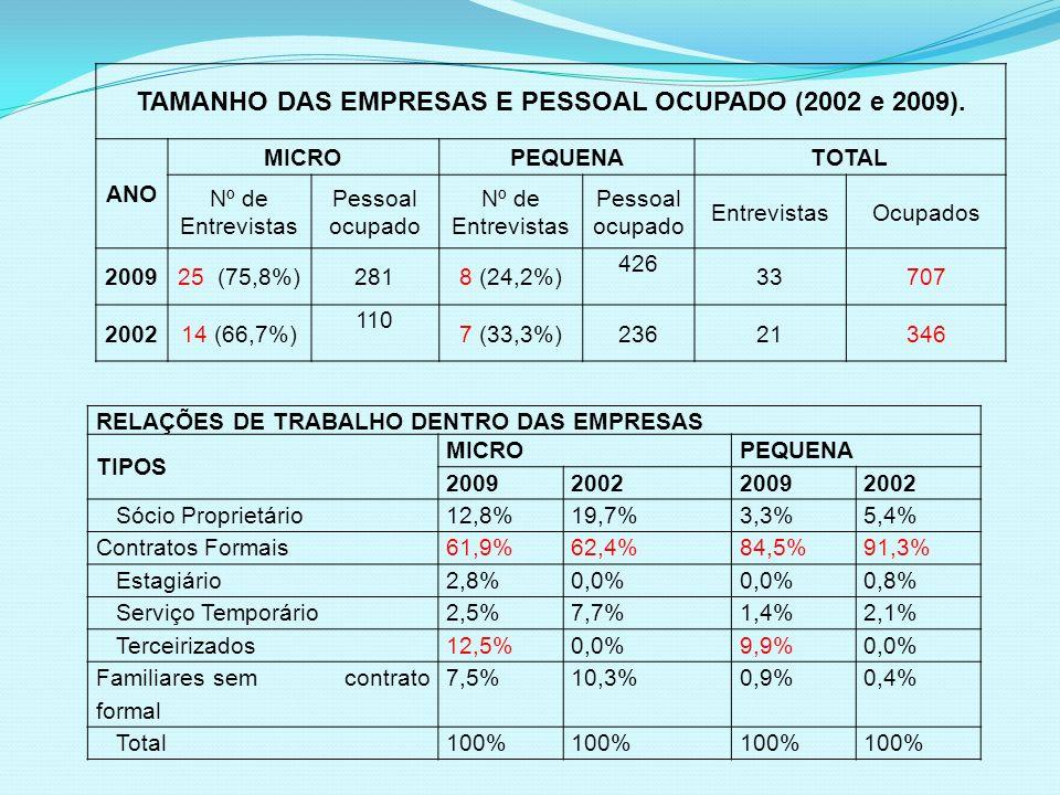 TAMANHO DAS EMPRESAS E PESSOAL OCUPADO (2002 e 2009). ANO MICROPEQUENATOTAL Nº de Entrevistas Pessoal ocupado Nº de Entrevistas Pessoal ocupado Entrev