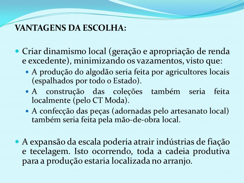 VANTAGENS DA ESCOLHA: Criar dinamismo local (geração e apropriação de renda e excedente), minimizando os vazamentos, visto que: A produção do algodão