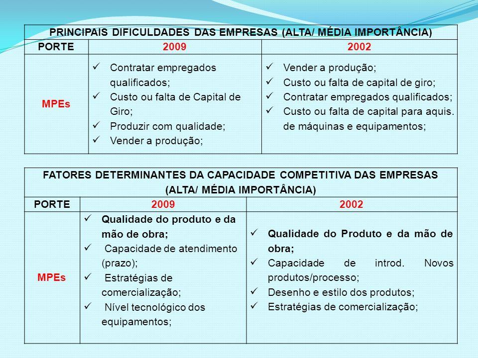 PRINCIPAIS DIFICULDADES DAS EMPRESAS (ALTA/ MÉDIA IMPORTÂNCIA) PORTE20092002 MPEs Contratar empregados qualificados; Custo ou falta de Capital de Giro